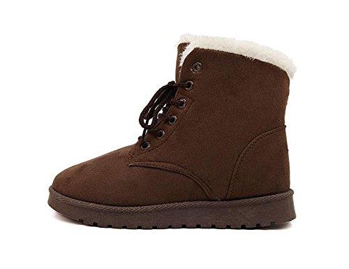 Très Chic mai Landa neige Bottes schnuerer Chaussures d'hiver court Bottines pour femme schnuer Chaussures Bottes d'hiver pour femme gefuettert avec fourrure - Marron - Marron,