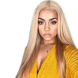 AZWIG 13×6 Lace Front Wig Kanekalon Fiber Synthetic Wig for Women Long Silky Straight Lace Front Wig Adjustable Elastic Straps for Perfect Fit 613#/#103 Blonde 22 inches