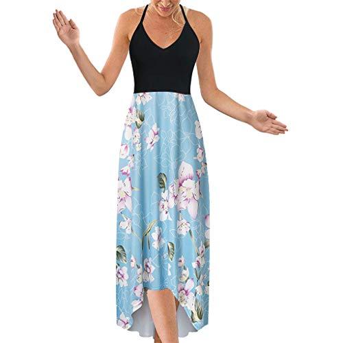 Sunhusing Ladies Off-Shoulder Sleeveless Halter Sling Lace-Up Boho Printed Irregular Hem Backless Beach Dress Light Blue -