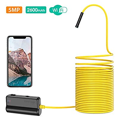 DEPSTECH WiFi Borescope, 5.0MP HD Wireless Endoscope, Semi-Rigid, 16 inch Focal Distance, Snake Inspection Camera with 2600mAh Battery for iOS & Android Smart Phone Tablets-33ft