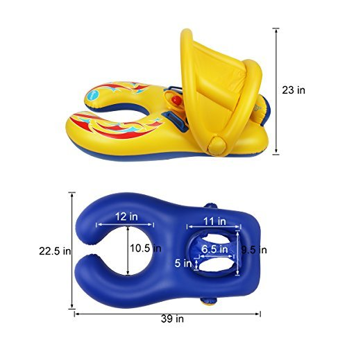 Totoose Mother and Baby Pool Float Inflatable Infant Float Swimming Ring with Canopy and Storage Bag by Totoose (Image #2)
