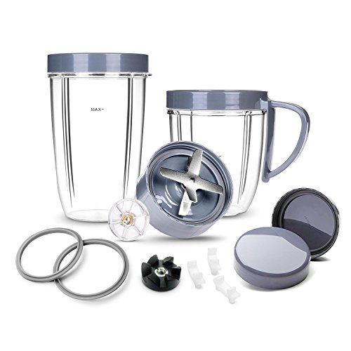 Deluxe Upgrade Kit Cup & Blade & Resealable Lid & Gear & Shock Pads Replacement Parts Kit, 14-Piece Set Replacement Parts Compatible with NutriBullet 900W/600W Series