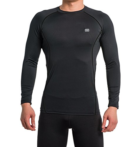 Bike Fitted T-shirt (Beorbus Men's Long Sleeve Compression T Shirts- Great For Running Cycling Workout and Cool Dry- Breathable, Promotes Muscle Recovery & Blood Circulation Tops (Black, XX-Large))