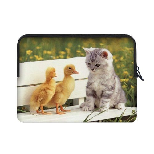Custom Hipster Cat Water Resistant Neoprene Laptop Sleeve15.4 15.6 Inch Notebook Computer Bag Case Cover(Twin Sides)
