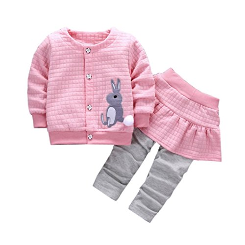 TRENDINAO Infant Toddler Baby Girls Rabbit Print Clothes Coat + Skirt Pants Outfits Clothes Set