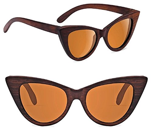 Wood Polarized Cat Eye Sunglasses For Women Wayfarer Style - 100% UV Protection (Brown, Brown) by RTBOFY (Image #1)