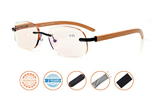 Price comparison product image Anti Blue Rays, Reduce Eyestrain, UV Protection, Wood Temple Computer Gaming Reading Glasses Unisex(Black, Amber Tinted Lenses) +4.0