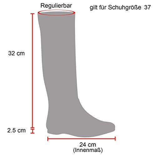 Stiefelparadies Damen Reiterstiefel Leder-Optik Bikerstiefel Block Absatz Stiefel Schnallen Schuhe Zipper Profil Metallic Damenschuhe Flandell Schwarz Schnallen