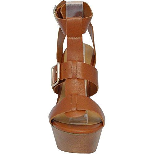 Breckelles Da Donna Renee-21 Open Toe Con Cinturino Con Fibbia Sul Sandalo Con Tacco Grosso, Marrone Chiaro, 10 M Us
