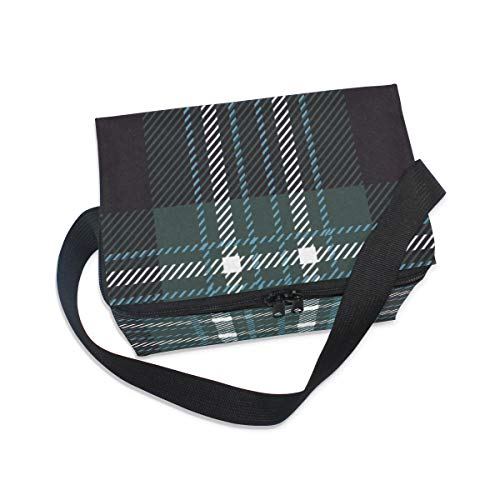 for Scottish Shoulder Strap Lunch Tartan Picnic Lunchbox Lattice Checkered Plaid Bag Green Cooler Pvq8wSxgqE