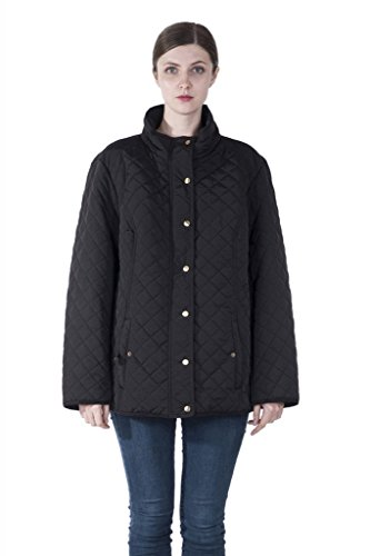 INFRON Women Black Plus Size Stand Collar Zipper Quilted Jacket