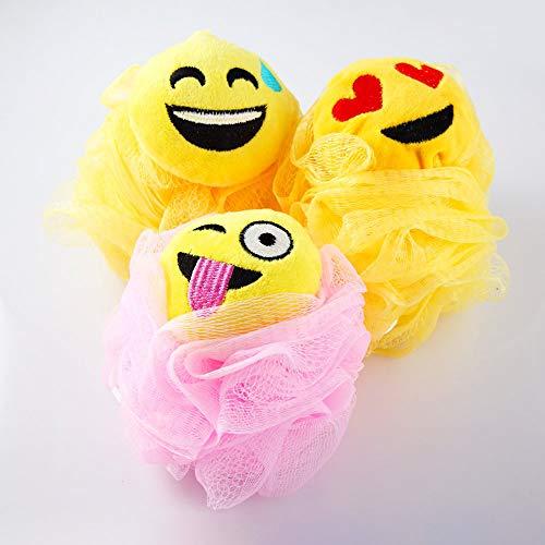 Hisight Bath Shower Sponge Emoji-Pop Smiley face Plush Pillow Universe Pouf Mesh Kids Toy Brush Shower Ball, Mesh Bath and Shower Sponge,cartoon expression bath flower bath ball (3 Packs)