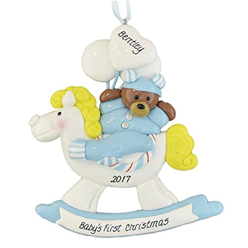 Rocking Decorative Design Horse - Baby Boy's First Christmas Rocking Horse and Bear Personalized Ornament - Calliope Designs - Handcrafted - Customized to order with his Name and the Year - 4.5