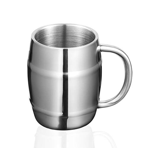 ONEB Stainless Steel Coffee Mug with, Set of 1 – Premium Double Wall Insulated Travel Mugs – Shatterproof, Comfortable Handle Cups for Tea, Beer, 15oz (Silver)