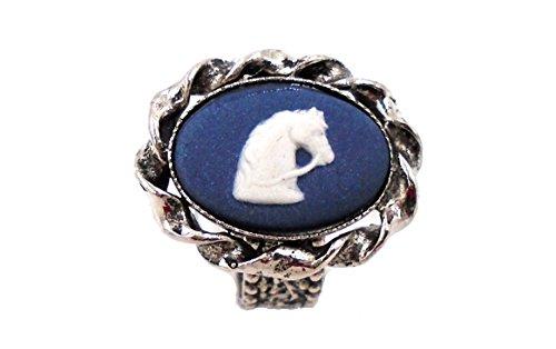 Jasperware Ring - Wedgwood: Silver Toned Navy Blue Jasperware Ring