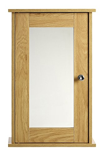 Premier Housewares 34x15x53cm Portland Oak Ven Wall Cabinet Mirr Door Chrm/hndl (Mirr Door)