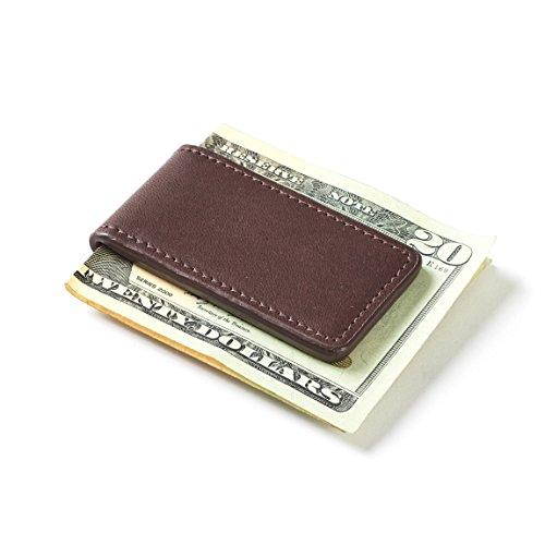 Leatherology Men's Magnetic Money Clip - German Leather - Mahogany (Mahogany Money Clip)