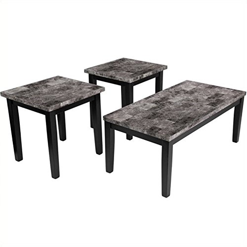 Signature Design by Ashley 3-Pc Contemporary Occasional Table Set in Black (Contemporary Occasional Set)