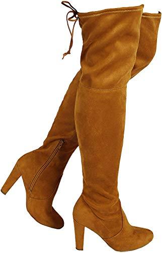 Wild Diva Women's Over The Knee Boot - Sexy Over The Knee High Pullon Boot - Trendy Low Block Heel Shoe - Comfortable Boot -(Wide Calf FIT & Regular FIT)