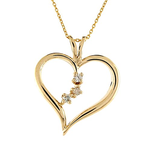 14k Solid Gold 0.075cttw Diamond Heart Three Stone Fancy Charm Pendant Necklace ()