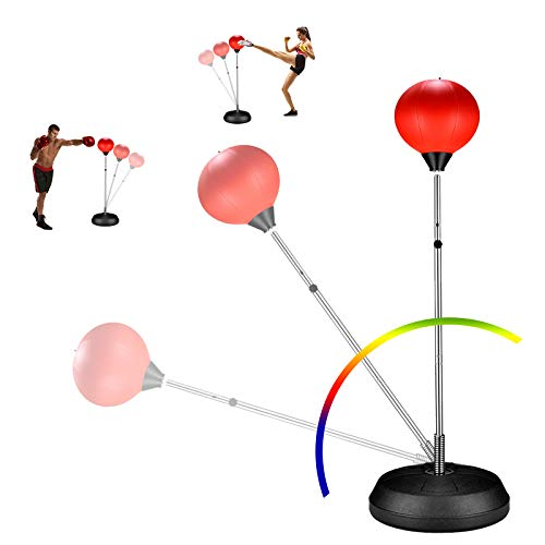 ZOVOTA Speed Punching Bag Ball Set with Adjustable Stand Height, Boxing Gloves & Hand Pump Exercise Fitness for Adults