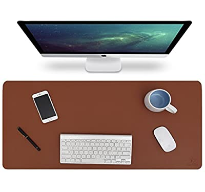 """Knodel Desk Pad Protector, 31.5"""" x 15.7"""" PU Leather Blotter, Rectangular Laptop Desk Mat, Non-Slip Mouse Pad, Waterproof Gaming Writing Mat for Office and Home, Dual-Sided"""