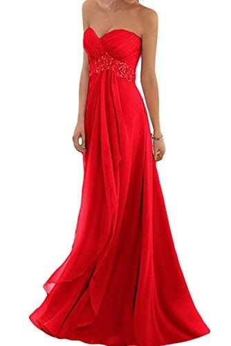 Jugendweihe Rot Braut Rosa Festlichkleider Traegerlos Kleider Abendkleider mia La Damen Partykleider Dunkel Chiffon Lang UAO40xq
