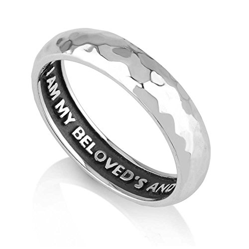 Marina Jewelry 925 Sterling Silver Hammered Ring,Womens or Mens I Am My Beloved's Engraved Inside by Marina Jewelry
