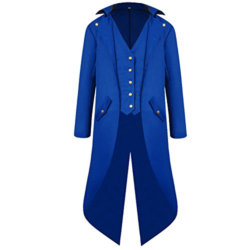 H&ZY Men's Steampunk Vintage Tailcoat Jacket Gothic Victorian Frock Coat Uniform Halloween Costume Blue