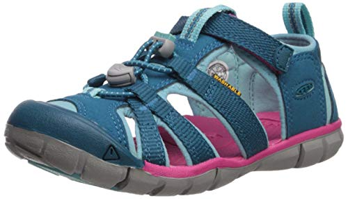 KEEN Unisex Seacamp II CNX Water Shoe, deep Lagoon/Bright Pink, 5 M US Big Kid (Sandals Kids Keen For)