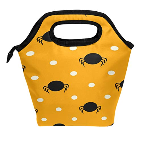 ALAZA Happy HalloweenLunch Box Tote Handbag Lunch Bag£¬Hipster Yellow Pattern Spider Polka Dots Insulated Cooler Lunchbox for Adult Teens Kids Girls Boys Men Women School Teens Office - Insulated Spider