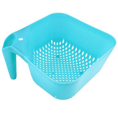 Square Kitchen Colander Strainer with Handle BPA-Free by bogo Brands (Blue)
