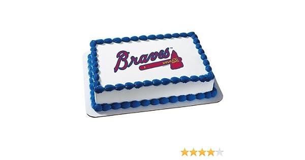 Amazon Atlanta Braves Licensed Edible Cake Topper 4678 Kitchen Dining