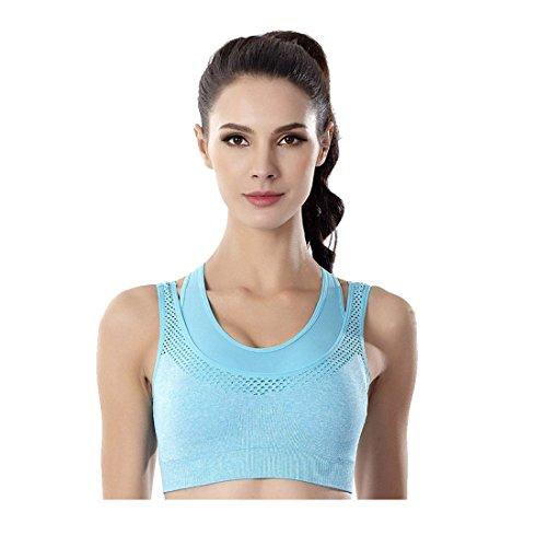 - King Star Women Double Layer Seamless Sports Bra High Impact Racerback Yoga Sports Bra (Blue,L)