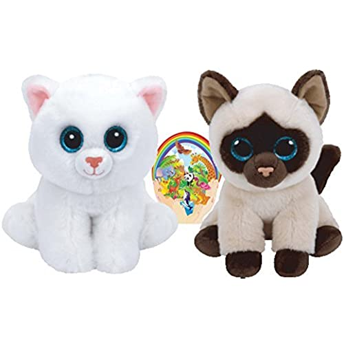 Ty Beanie Babies Cats White PEARL and Siamese JADEN Gift set of 2 Plush Toys 6-8 inches tall with Bonus Animals Sticker