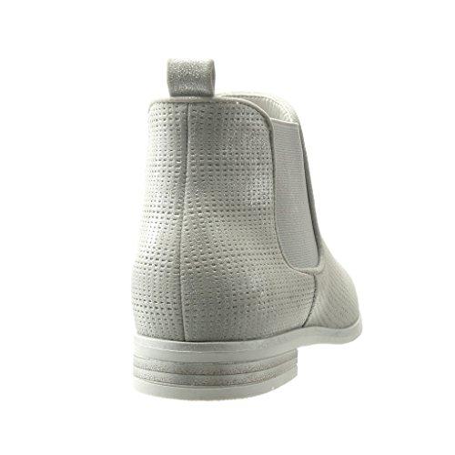 Angkorly - Scarpe da Moda Stivaletti - Scarponcini chelsea boots suola di sneaker donna intrecciato Tacco a blocco 2.5 CM - Argento