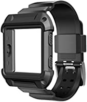 Dreaman Rugged Protective Case With Silicone Wrist Strap Bands for Fitbit Blaze Watch (Black)