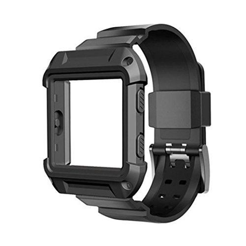 Dreaman Rugged Protective Case With Silicone Wrist Strap Bands for Fitbit Blaze Watch - Mens Blaze