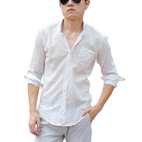 Zbrandy Men's Mandarin Collar Shirts Hawaiian Casual Shirts Colour White Size (White Linen Shirt)
