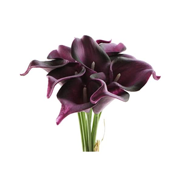 Unigift Beautiful Artificial Real Touch Flower Latex Calla Lily Bouquet for Home Wedding Party Restaurant Decoration-Bunch of 10(Black Purple)