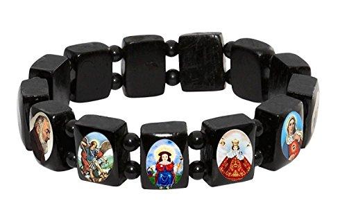 Catholica Shop Catholic Religious Wear Black Wood Elasticated Bracelet with Assorted Colored Images of Catholic Saints - Small Panel