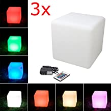 LED Cube Light, LOFTEK Shape Light, Rechargeable and Cordless Decorative Light with 16 RGB Colors and Remote Control, 16-Inch Cube, Pack of 3