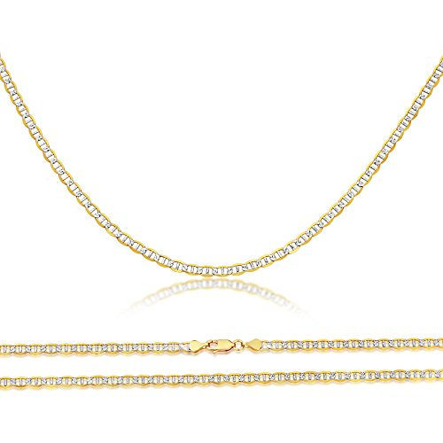 Double Accent 14K Two Tone Gold Chain 2.5mm Light Weight Pave Flat Mariner Chain Necklace (16, 18, 20, 22, 24 Inches), 24