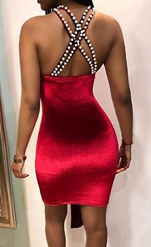 Sexy Halter Red Velvet Dress Cross Beads Women's Party Open Coolred Back q7E5wv4