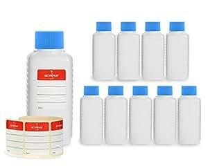 10 botellas de plástico de Octopus de 100 ml, botellas de plástico de HDPE con azul tapones de rosca, botellas vacías con tapas de azul rosca, botellas rectangulares con 10 etiquetas para marcar