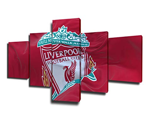 Framed Sports Art Liverpool F.C. Flag Waving Paintings Football Pictures 5 Piece Canvas Wall Art Modern Artwork Home Decor for Living Room Giclee Gallery Wrapped Stretched Ready to Hang(50''Wx24''H)