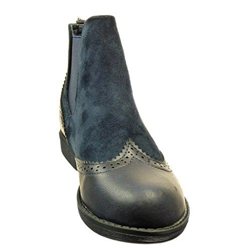 Angkorly - Chaussure Mode Bottine chelsea boots bi-matière femme finition surpiqûres coutures Talon bloc 2 CM - Bleu
