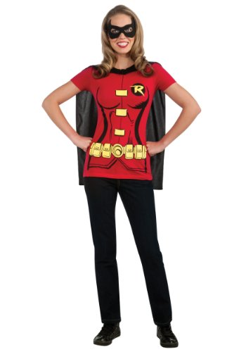 Sexy Female Robin Costumes - Rubies Womens Robin Sexy Shirt Instant Costume Halloween Themed Party Dress, Large (12-14)