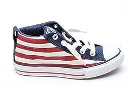 Converse Kids CT Street Mid Shoes Sneakers- 648495C- Navy/Maroon (5 M US Big Kid)