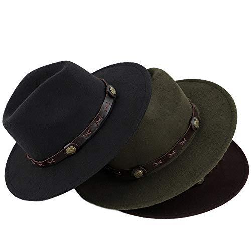 Autumn and Winter Classic Fedora Warm Comfortable Adjustable caps Universal Retro Church Bowler Hats Men Jazz Men and Women Blue ()